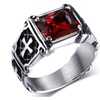 Vintage Red Crystal Cross Pattern Stone Stainless steel Ring