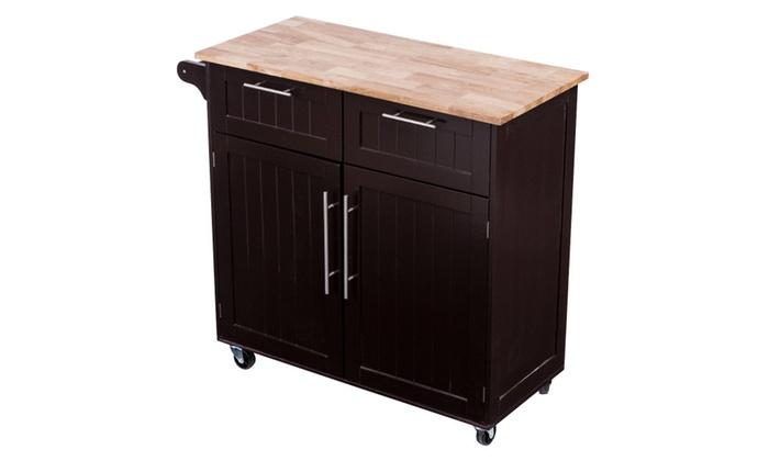Rolling Kitchen Cart Island Heavy Duty Storage Trolley Cabinet Utility