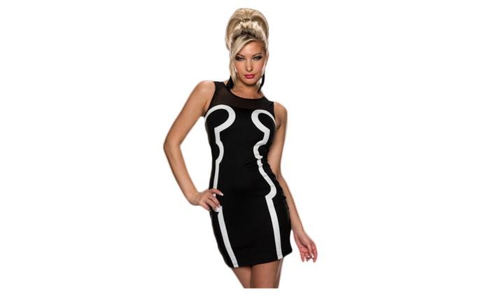 Women's Sleeveless Tank Black Bodycon Dress with Contrast Detail