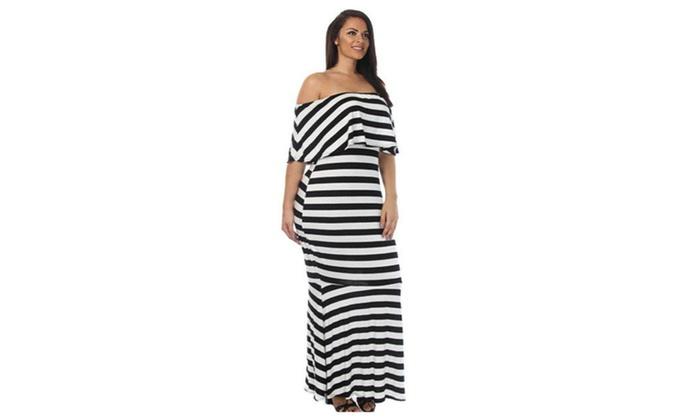 68bd3b947ff Women s Striped Ruffle Tube Plus Size Maxi Dress