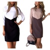 Women Casual O-Neck 3/4 Sleeve Patchwork Color Slim Party Dress