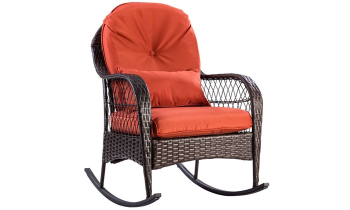 Incroyable Outdoor Wicker Rocking Chair Porch Deck Rocker Patio Furniture W/ Cushion  ...