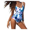Womens Blue Floral Backless Lace up Monokini