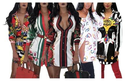 Women's Retro Floral Print Button Down Long Sleeve Blouse Shirt Dress 1857dc32-873d-4eab-bcea-475983270e32