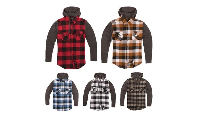 Men's Plaid Button Up Flannel Hoodie Sweatshirt, Long Sleeve Shirt
