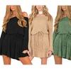 Womens Thickening Off Shoulder Sweater Dress Long Sleeve  Dress