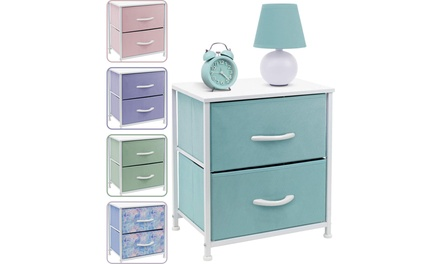 Small Bedside Night Table w/ 2 Drawers, Kids Dresser for Bedroom, Pastel Colors