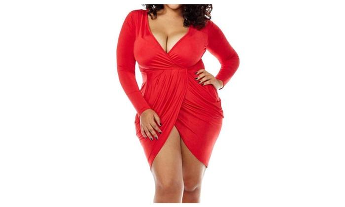 SHH Womens Plus Size Deep V Neck Bodycon Wrap Dress with Front Slit