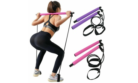 Home Gym Kit Pilates Bar Exercise Equipment Resistance Bands Fitness Yoga Stick