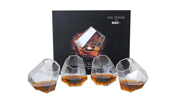 diamond whiskey glasses set of 4 - Whiskey Glass Set
