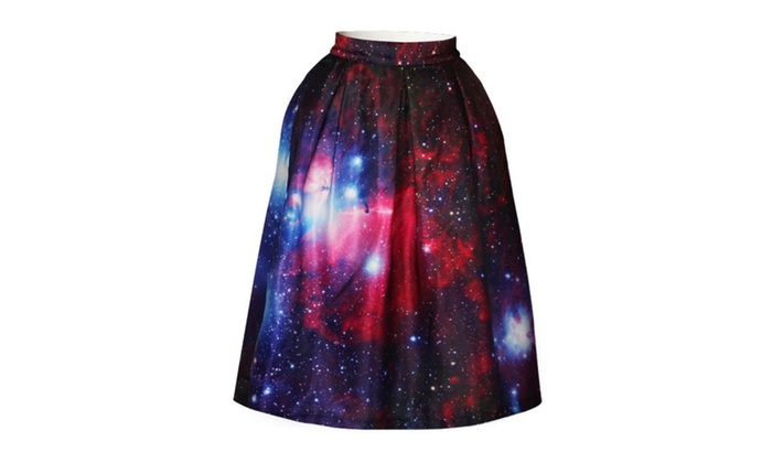 4PING Women's Summer Red Starry Sky Puff Skirt Digital Tie-Dyed Skirt