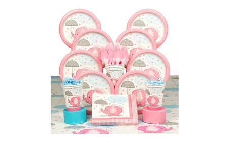 Umbrella Elephants Pink Baby Shower Deluxe Tableware Kit (Serves 8) 959454e8-24a6-42b8-a6a2-58ca7fd8bcd3