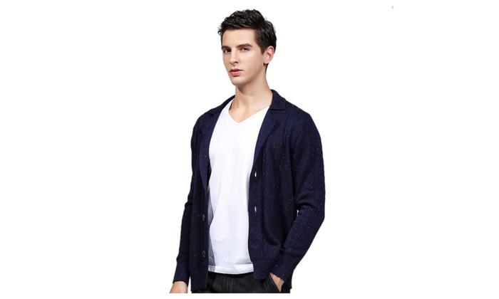 Men's Lapel Collar Long Sleeve Button Down Cotton Cardigan Jacket