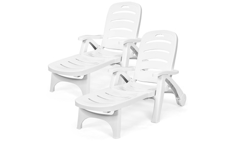 Costway 2 PCS Folding Chaise Lounge Chair 5-Position Adjustable Recliner White