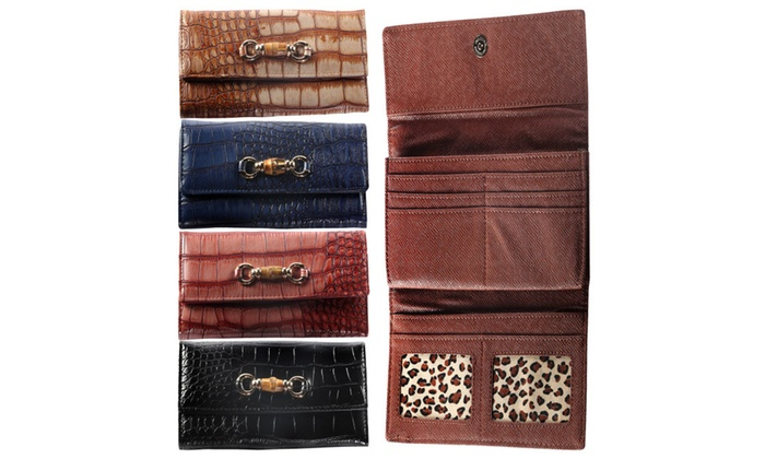 Hadari Women's Croc Wallet with Buckle and 14 pockets