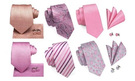 3 Piece Designer Silk Tie Set (Pink Shades)