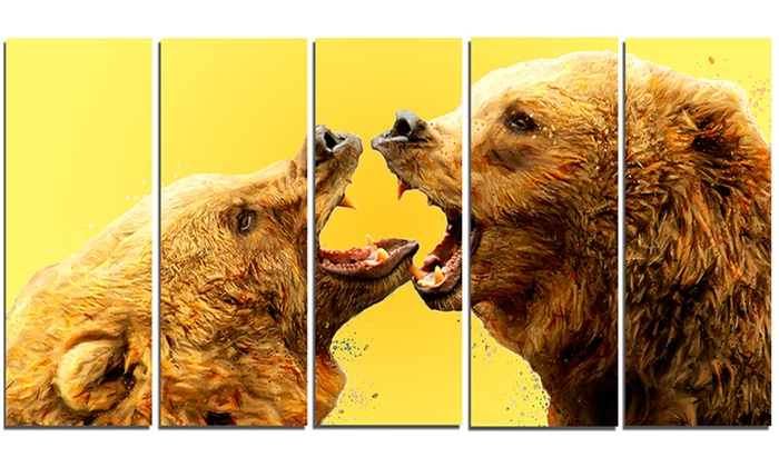 Bear Fight - Animal Metal Wall Art