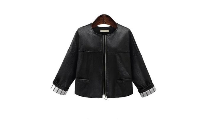 Women's Slim Fit Simple Zip Closure Faux Leather Coats