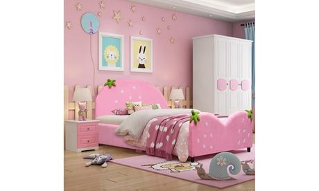Kids Children Upholstered Platform Toddler Bed Bedroom Furniture Berry Pattern