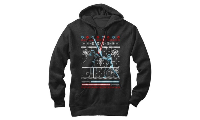 star wars ugly christmas sweater duel mens graphic lightweight hoodie - Star Wars Ugly Christmas Sweater