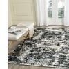 LR Home Infinity Distressed Abstract White / Black Indoor Area or Runner Rug