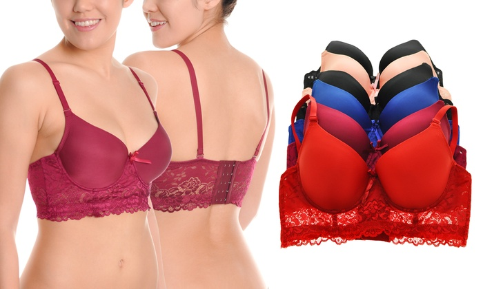 a2d86459eacff Angelina Wired T-Shirt Bras with Rose Lace Wings (6-Pack)
