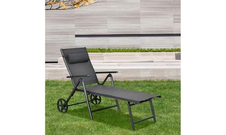 Costway Patio Lounge Chair W/ Wheels Neck Pillow Aluminum Frame Adjustable