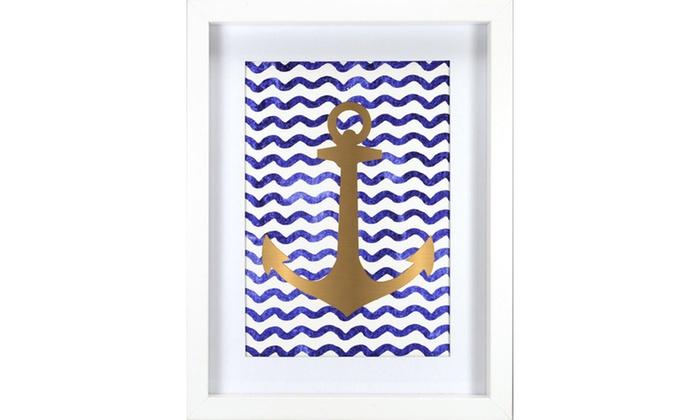Roommates wall Decor Gold Anchor Frame - Navy | Groupon