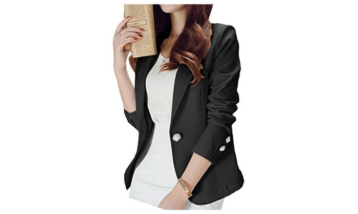 Women's Casual Work Office One Button Front Blazer Jacket