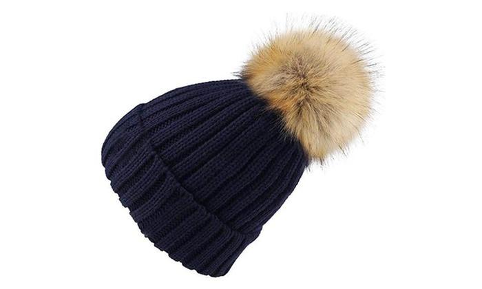 ... Womens Winter Hand Knit Faux Fur Pompoms Beanie Hat 02bd40cb06d