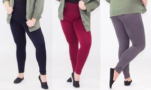 Plus Sized High Waist Fleece Leggings (3 Pack)