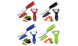 "Ceramic 3"" Paring Knife with Sheath and Peeler Set (3-Piece)"