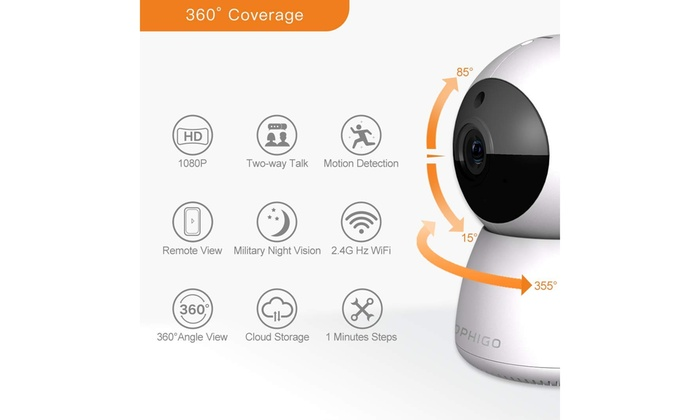 DophiGo Set of 2 1080P HD Dome 360° Wireless WiFi Cloud Security Camera