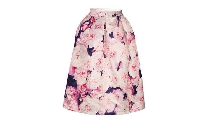 4PING Women's Flowers Printing Puff Skirt Self-cultivation Big Skirt