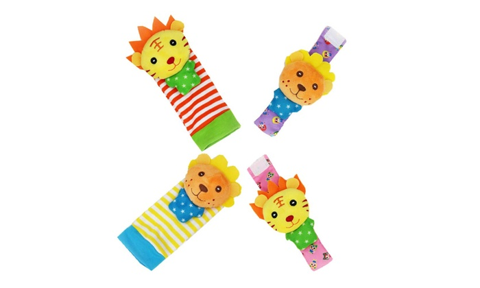 1 X Baby Wrist Rattle /& Foot Finder Toys Lion /& Tiger Set of 4PCS Baby Infant Soft Toy