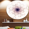 Perfect Glowing Fractal Flower in Purple' Floral Metal Circle Wall Art