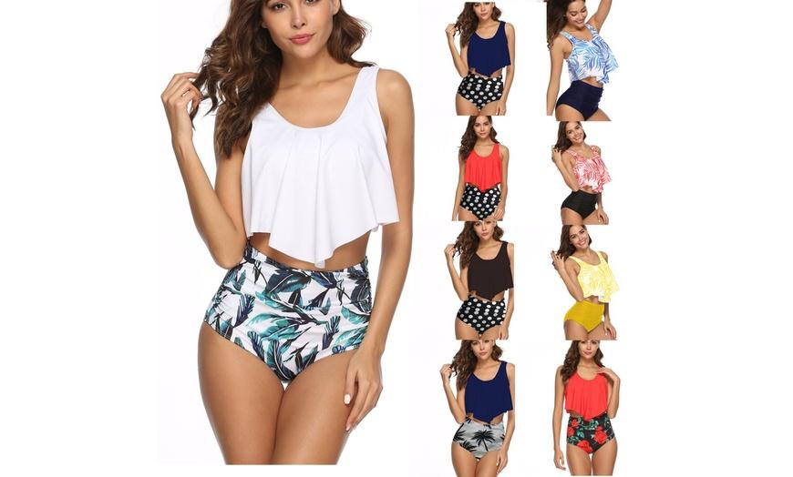 Women 2PCS Bathing Suit Ruffled Top+High Waisted Bottom Bikini Set Swimwear XI