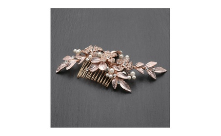 New! Designer Bridal Hair Comb With Hand Painted Rose Gold Leaves And f1f04feb-4dd2-4b8c-90e7-bf66cf4aaf94