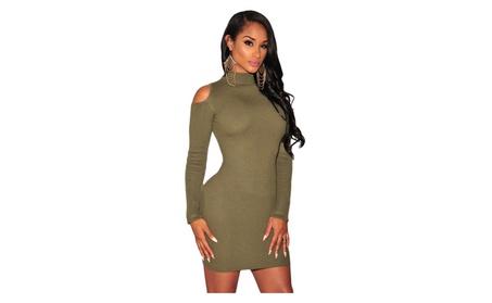 Women's Olive Knit Ribbed Cut out Shoulder Long Sleeves Dress ed787c47-c991-475a-9297-ea71b54aea22