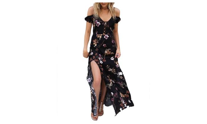 New female sling V-neck embroidery printing split open dress