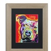 Dean Russo 'Thoughtful Pitbull' Matted Birch Framed Art