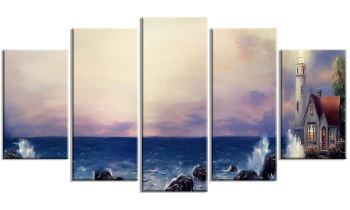 Lighthouse Sea Panoramic - Landscape Metal Wall Art | Groupon