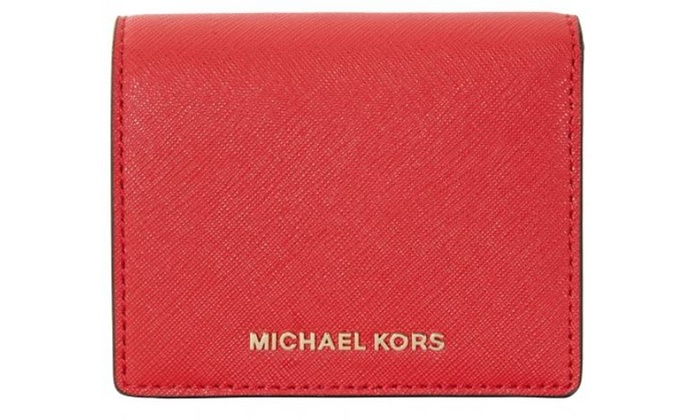 fe13d9dffc0f Michael Kors Jet Set Travel Saffiano Leather Card Holder - Bright Red