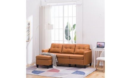 PU L Shape Sofa Couch for Small Apartment Reversible Sectional Sofa Couch