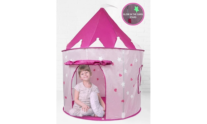 Click nu0027 Play Pink Princess Castle Play Tent Features Glow in the Dark Stars  sc 1 st  Groupon & Click nu0027 Play Pink Princess Castle Play Tent Features Glow in the ...