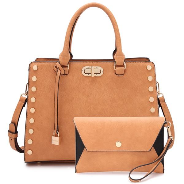 4d68adf8ea74 MK Belted Collection Vegan Satchel Handbag with Clutch