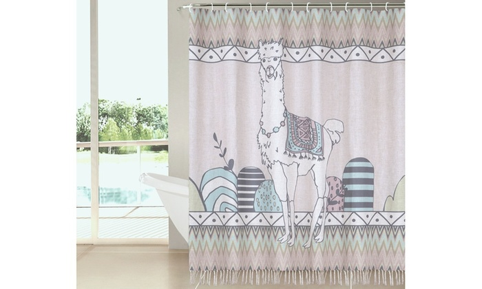 Linen Textured Shower Curtain With Fringes