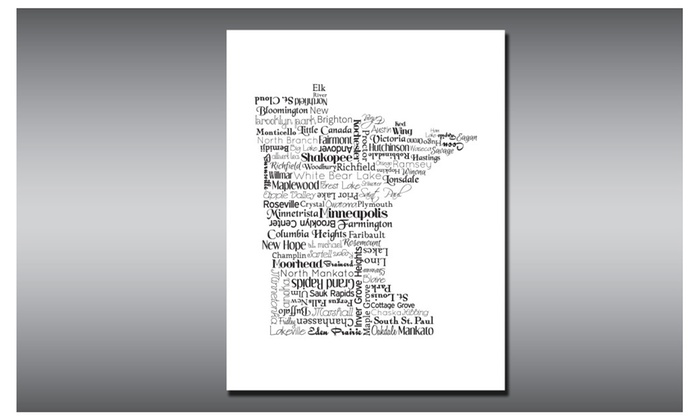 Minnesota Print Art State Typography Travel Map Housewarming – Mn Travel Map