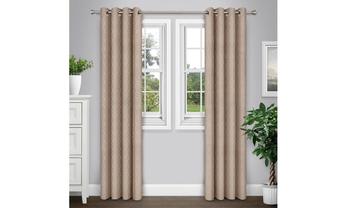 journee home 84 inch patterned grommet curtain panel pair livingsocial. Black Bedroom Furniture Sets. Home Design Ideas