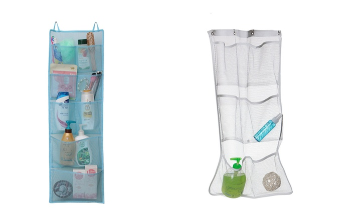 Great Hanging Mesh Shower Organizer With Multiple Pockets